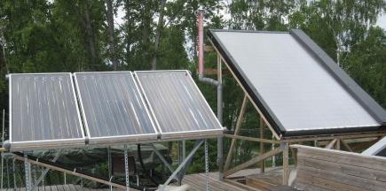 Solfangere p laboratorietaket. Type I til venstre og type II til hyre
