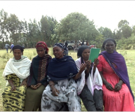 A womens group in southern Ethiopia discussing land rights issues.