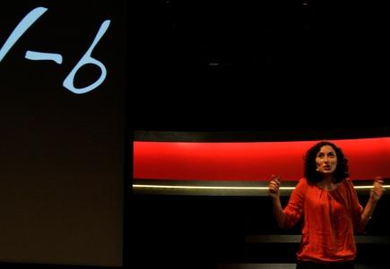 Anne Chapuis fortel engasjert om sitt forskingsprosjekt p Forsker grand prix 2011.