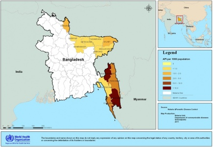 District-wise distribution of annual parasite incidence in Bangladesh(2010)