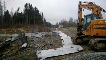 Ny gangvei og bilvei fra krysset ved Arboretveien mot bolighuset p Gullberg.