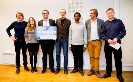 Vinnerene av beste studentbedrift 2014 ble Meshcrafts. Fra venstre: Marius Sandvik (etablertjeneseten Akershus, jury), Marthe strem (Meshcrafts), smund Mll Frengstad (Meshcrafts), Stian Weiseth, (Meshcrafts), Amand Mender, (Meshcrafts), Vegard Arnhoff (NMBU TTO, jury), Gudbrand Teigen (Innovasjon Norge, jury).