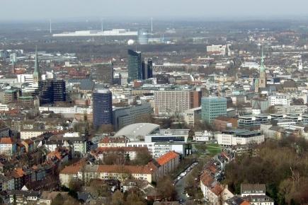 Flyfoto av byen Dortmund