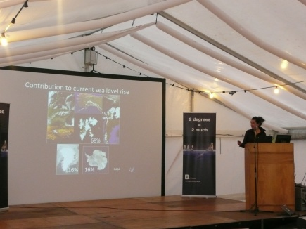 IN COPENHAGEN: Anne Chapuis speaking at the event in the Arctic Tent.
