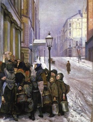 This painting could be illustrating Cairo 2008, but it is from the mainstreet Karl Johansgate in Oslo (Kristiania) 1888-1889