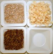 Ulike typer frberikelse: helkorn hvete, sagflis, melorm, eller ingen berikelse.
