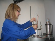 Heidi S. Nygrd preparing an experiment at the pyrolysis oven at IMT.